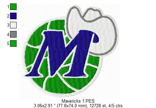 Dallas Mavericks NBA Basketball Team Sports Embroidery Designs Download