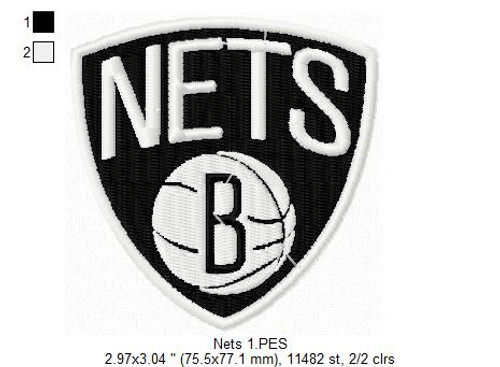 Brooklyn Nets NBA Basketball Team Sports Embroidery Designs Download