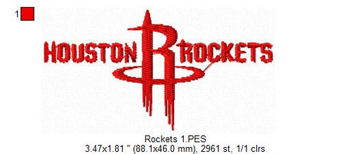 Houston Rockets NBA Basketball Team Sports Embroidery Designs Download