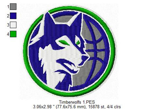 Minnesota Timberwolves NBA Basketball Team Sports Embroidery Designs Download