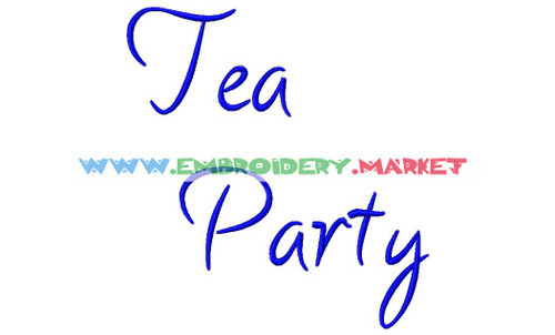 TEA PARTY  Machine Embroidery Designs Fonts Instant Download