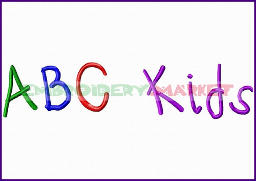 ABC KIDS Machine Embroidery Designs Fonts Instant Download
