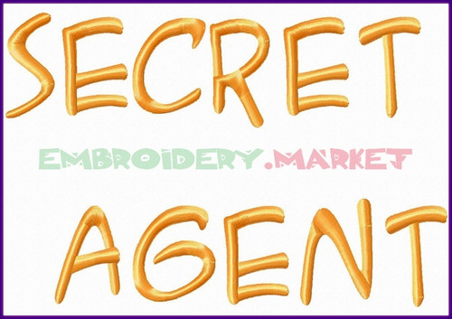 SECRET AGENT Machine Embroidery Designs Fonts Instant Download