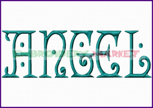 ANGEL Machine Embroidery Designs Fonts Instant Download