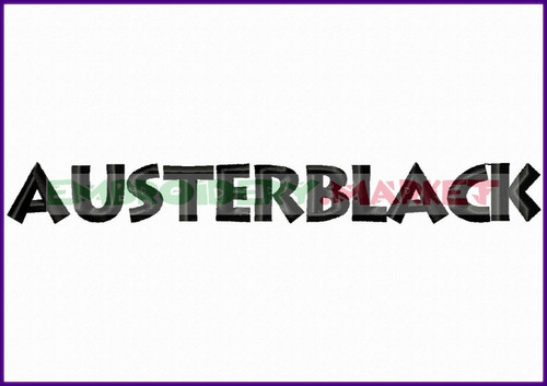 AUSTERE BLACK Machine Embroidery Designs Fonts Instant Download