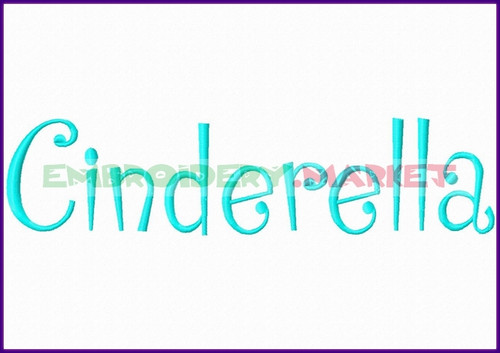 CINDERELLA Machine Embroidery Designs Fonts Instant Download