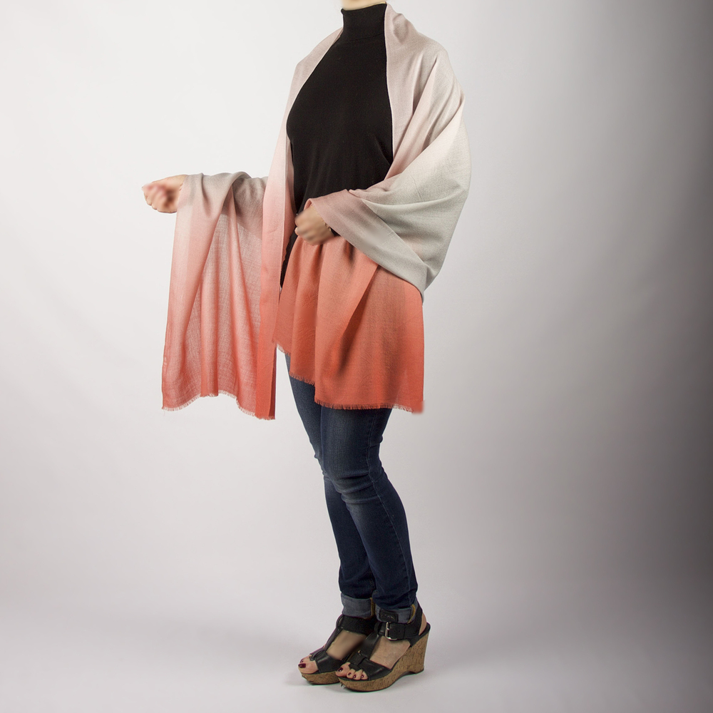 Evelin Lightweight Merino Wool Ombré Shawl