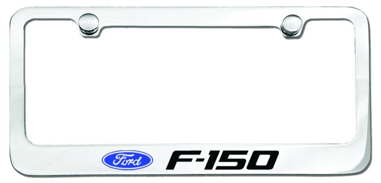 Ford F150 Truck Logo License Plate Frame Chrome - CarDetails.com
