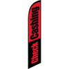 Check Cashing (red and black background) Semi Custom Feather Flag Kit