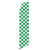 Checkered Green and White Feather Flag