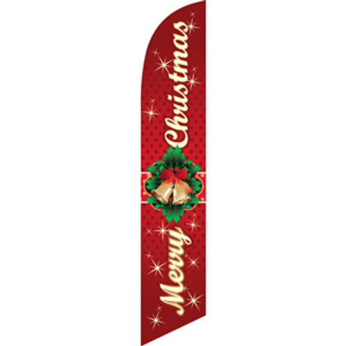 Merry Christmas (wreath centered) Semi Custom Feather Flag Kit