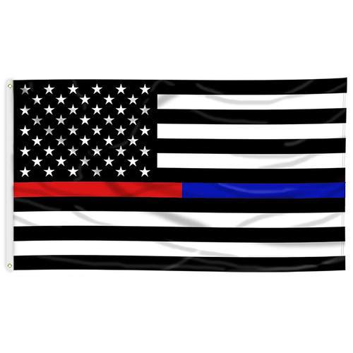 Thin Blue and Red American Flag