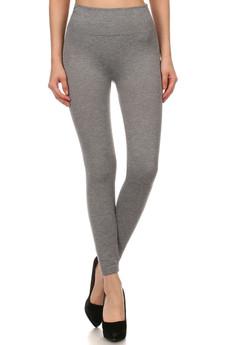 Front image of SL15FL20 - Heathered High Waist Fleece Lined Leggings