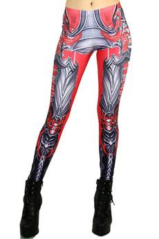 Front side image of Wholesale Premium Graphic Demon Armor Leggings