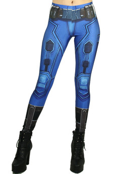 Front side image of Wholesale Premium Graphic Blue Sexy Armor Leggings