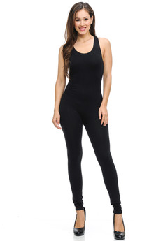 Front side image of Wholesale Thigh Shred Cotton Jumpsuit