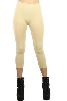 Front side  image of Wholesale Basic Spandex Capri Leggings