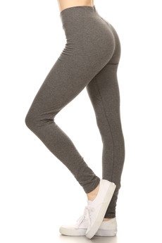 Left Side image of Charcoal Wholesale High Waisted Cotton Sport Leggings