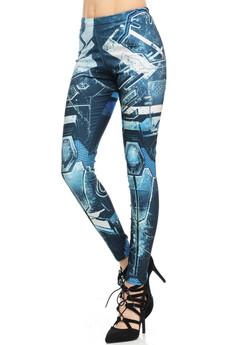 Wholesale Graphic Blue Robot Armor Leggings