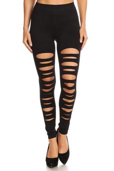 Wholesale Front Double Slashed Seamless Leggings