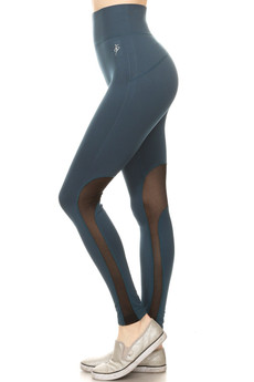 Wholesale High Waisted Teal Mesh Workout Leggings