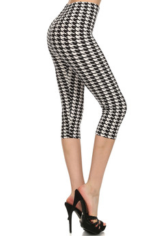 Side Image of Wholesale Buttery Soft Houndstooth Capris