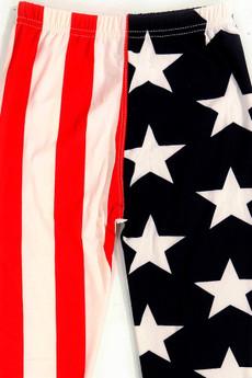 Wholesale Buttery Soft Split USA Flag Kids Leggings