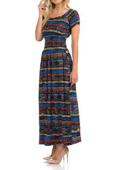 Wholesale Buttery Soft Short Sleeve Chroma Tribal Maxi Dress