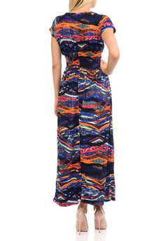 Wholesale Buttery Soft Short Sleeve Bands of Color Maxi Dress