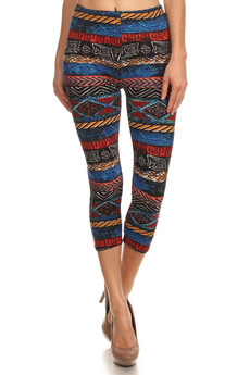 Front image of Batik Tribal Capri Leggings