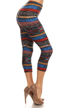 Side Image of Batik Tribal Capri Leggings