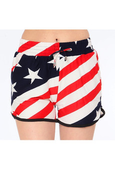 Wholesale Buttery Soft Twisted USA Flag Shorts