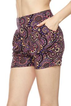 Wholesale Buttery Soft Delicious Purple Mandala Harem Shorts