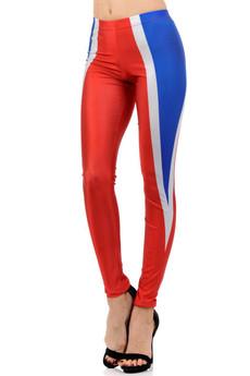 Wholesale Premium Graphic Print Red and Blue Contour Leggings