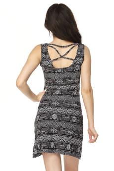 Wholesale Buttery Soft Tribal Elephant Criss Cross Strap Mini Dress