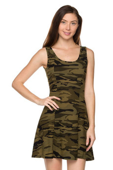 Wholesale Buttery Soft Green Camouflage Fit and Flare Dress