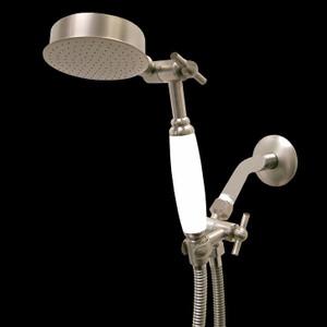 Premium Series Hand Held Wonder Shower head Brushed Nickel w/White Porcelain Handle