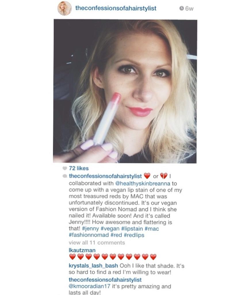 Jenny lip stain instagram post