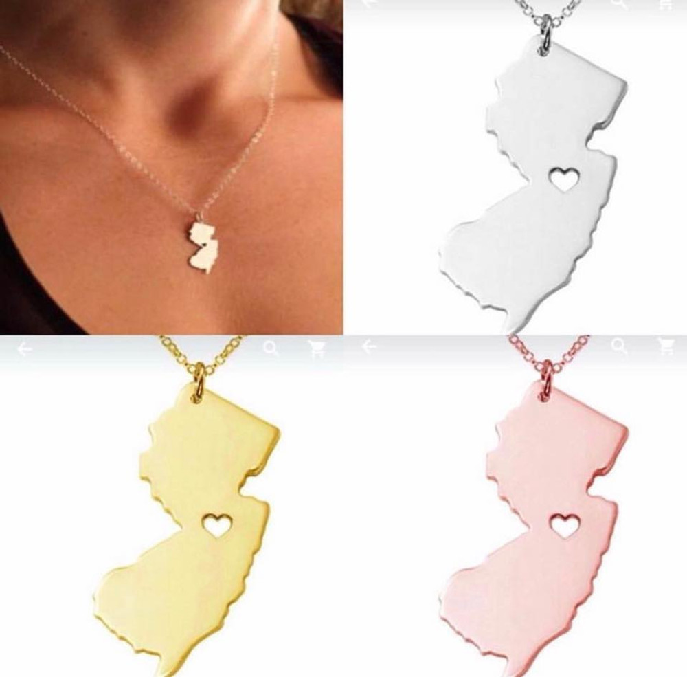 NJ State Rose Gold Necklace
