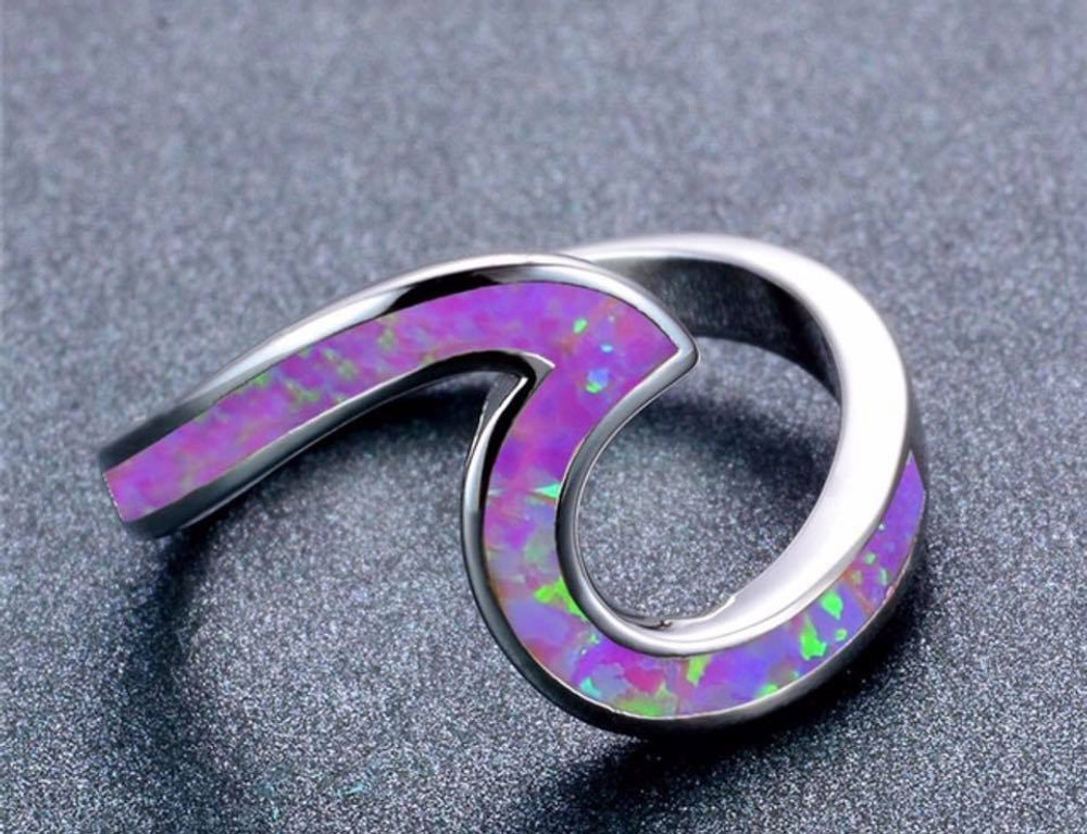 Purple Fire Opal Wave Ring