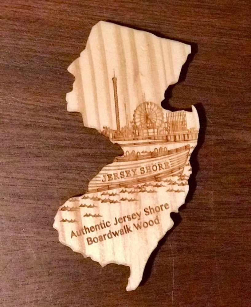 """BIG New Jersey Ferris Wheel - Magnet is BIG 4"""" magnet in the shape of the Garden State and is produced from wood Jersey Shore Boardwalk wood."""