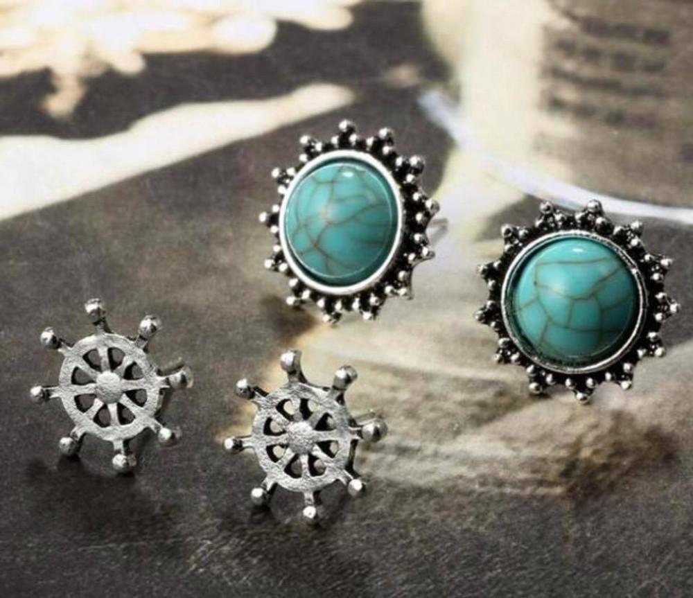Vintage Nautical 6 Piece Stud Earring Set