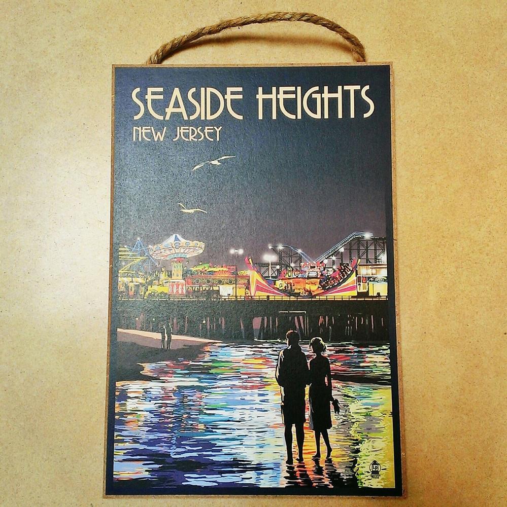 Seaside Heights Skyline Wooden Plaque