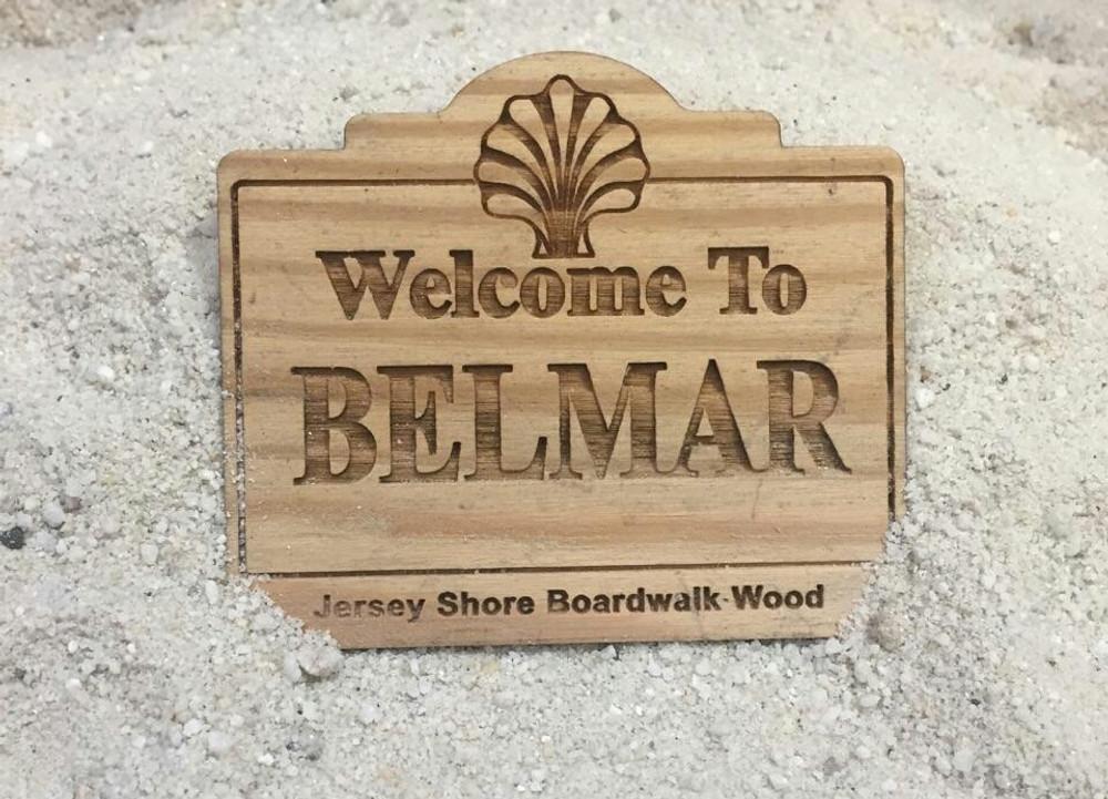 Welcome To Belmar Authentic Jersey Shore Boardwalk Wood Magnet