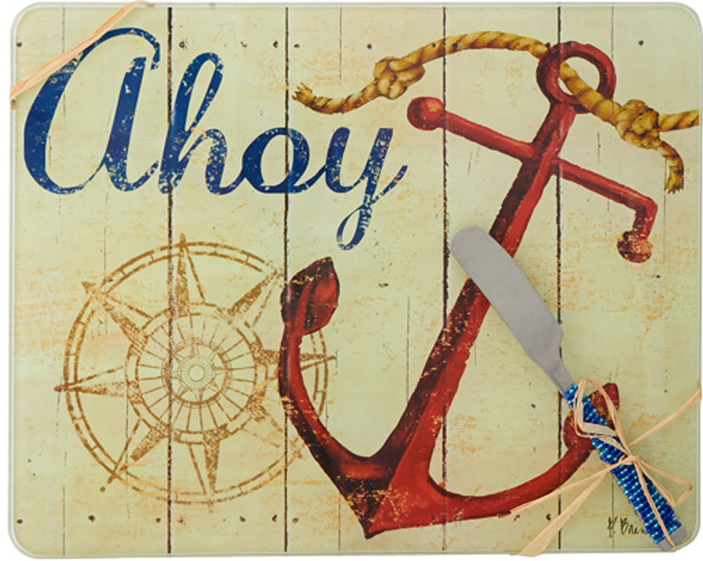 Glass Cheese Board Ahoy w/ Spreader