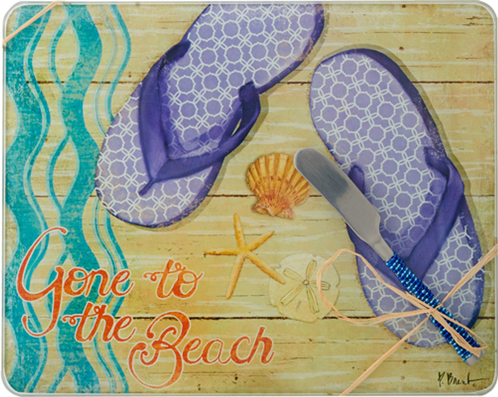 Glass Cheese Board Gone to Beach w/ Spreader