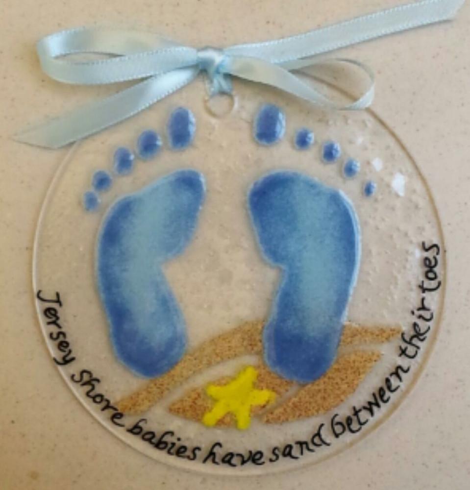 Blue Baby Feet Handmade Ornament/Sun Catcher