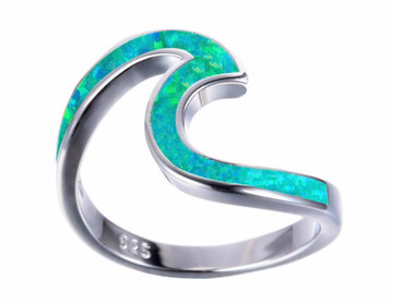 Opal Fire Green Wave Ring