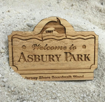 Welcome To Asbury Park Authentic Jersey Shore Boardwalk Wood Magnet