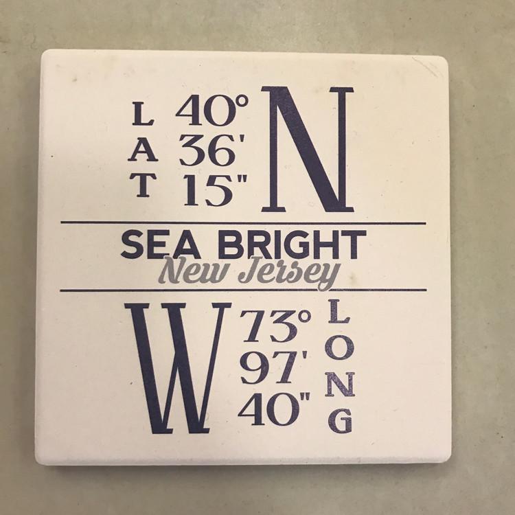 Sea Bright Lat Long Stone Coaster